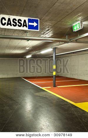 new underground parking, cash sign