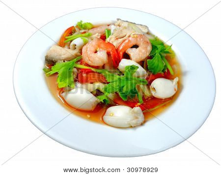 Yum seafood (Thai seafood toast in yum salad dressing)