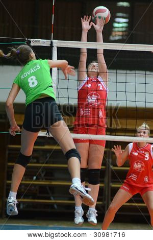 KAPOSVAR, HUNGARY - FEBRUARY 3: Unidentified players in action at the Hungarian Championship volleyball game Kaposvar (red) vs Miskolc (green), February 3, 2012 in Kaposvar, Hungary