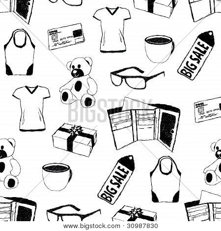 Doodle Seamless Pattern With Shopping Theme
