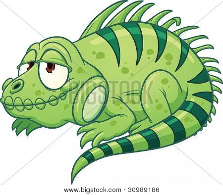 Sleepy cartoon iguana. Vector illustration with simple gradients. All in a single layer.