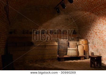 wooden barrels at an basement