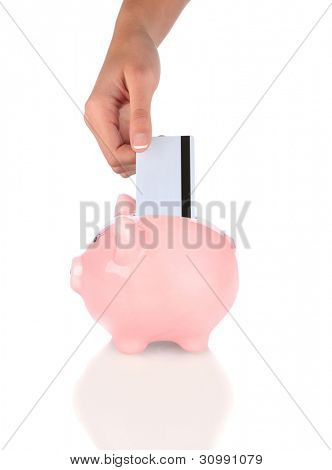 Closeup of a woman's hand putting a credit card into a piggy bank. Vertical format over white.