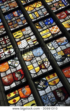 Stained glass in Oude Kerk, Amsterdam