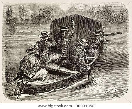 French riflemen shooting enemy from a boat (Cochinchina campaign). Created by Worms, published on L'Illustration, Journal Universel, Paris, 1863