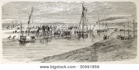 Napoleon Prince Imperial arrival in Ismailia, Egypt. Created by Godefroy-Durand after Barry, published on L'Illustration, Journal Universel, Paris, 1863