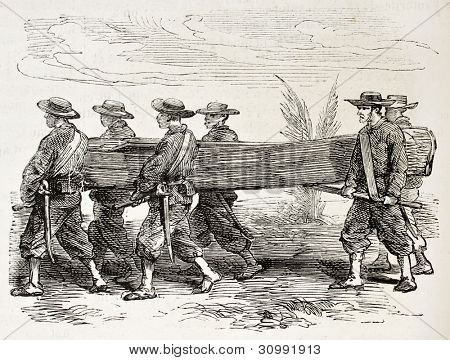 French soldiers carrying a boat (Cochinchina campaign). Created by Worms, published on L'Illustration, Journal Universel, Paris, 1863