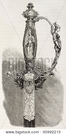 Hilt of a sword given to Baron Finot, French consul in Tblisi. Created by Fichot, published on L'Illustration, Paris, 1863