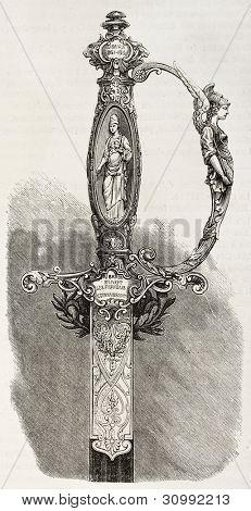 Punho de uma espada dada ao Barão Finot, cônsul francês em Tblisi. Criado por Fichot, publicado em L'Ill