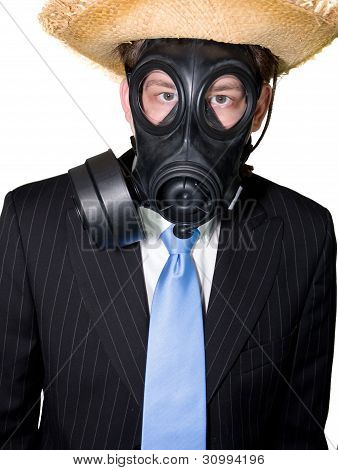 Man With Gasmask And Hat