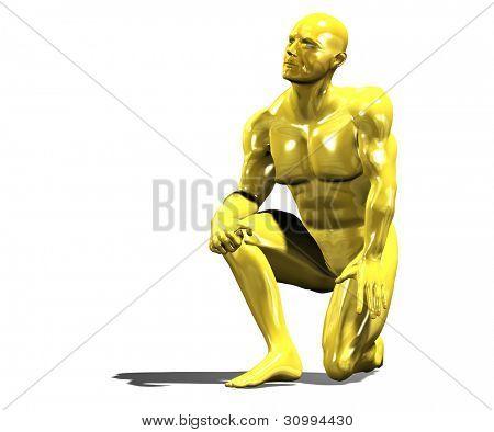 Gold Mann Heldenstatue in niederknien Pose. Isoliert auf weiss