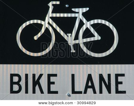 Bike Lane Sign And Symbol with reflective texture. Black and white.