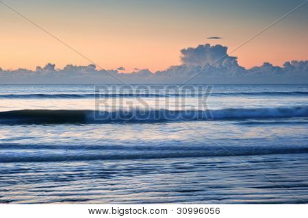 Beautiful Low Tide Beach Vibrant Sunrise