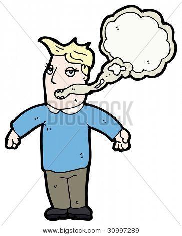 homem de fôlego de fumante de desenhos animados