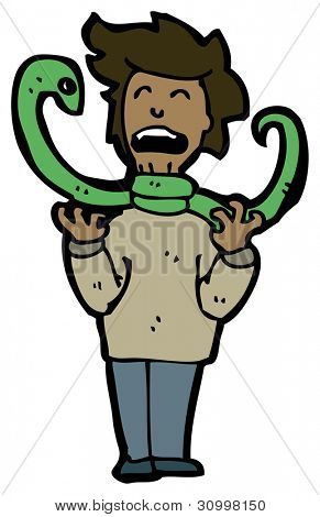 snake strangling man cartoon