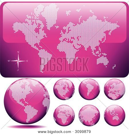 Vector Dotted Map And Globe Of The World - Glossy Pink