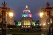 Dusk Over San Francisco City Hall Illuminated In Rainbow Colors For The Pride Festival. San Francisc poster