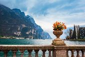 Tip Of The Lake Garda, View Fron The Riva Del Garda Town In The Trentino Alto Adige Region In Italy. poster