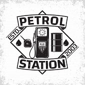 Vintage Petrol Station Logo Design, Emblem Of Gasoline Station, Gas Or Diesel Filling Station Typogr poster