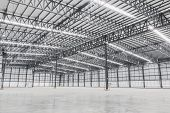 Empty Warehouse. Factory Building Or Warehouse Building With Concrete Floor For Industry. Industrial poster