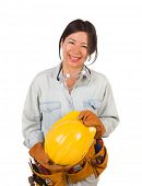 Hispanic Female Contractor Wearing Goggles, Hard Hat and Goggles Isolated on White Background. poster