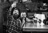 Send Selfie To Friends Social Networks. Man In Bar Drinking Beer. Take Selfie Photo To Remember Grea poster