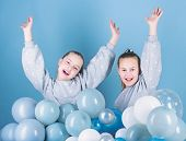 Happy And Carefree. Little Girls Celebrating Birthday. Small Children Having Birthday Party. Happy K poster