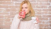 Girl Hold Tea Mug And Tissue. Runny Nose And Other Symptoms Of Cold. Cold And Flu Remedies. Drink Mo poster