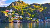 An Hdr Panoramic Image Of The Battery Community In St John`s Harbour, Newfoundland, Canada. poster
