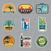Travel Vintage Sticker. Summer Vacation Labels For Old Luggage Tropical Travel Vector Logo Collectio poster