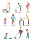 Animal Owners. Happy Domestic Pets With Young Male And Female Holders Animals Cats Dogs Walking Vect poster