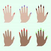 Different Nail Shapes. Fingernails Fashion Trends. Nail In Modern Style. Colorful Graphic Concept. B poster