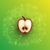 Healthy Lifestyle Concept With Sport And Healthy Diet Doodles And Icons - Sport, Food, Happy And Nor poster