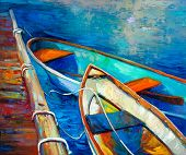 Original Oil Painting Of Boat And Jetty(pier) On Canvas.sunset Over Ocean.modern Impressionism poster