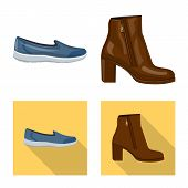 Vector Design Of Footwear And Woman Symbol. Collection Of Footwear And Foot Stock Symbol For Web. poster