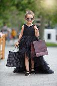 Cute Little Caucasian Girl Child Having Shopping Fun.fashion Trend. Fashion Shop. Little Girl With B poster
