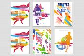 Run Fest Posters Set, Sport And Competition Concept, Running Marathon, Colorful Design Element For C poster