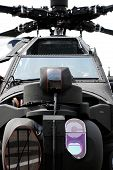stock photo of attack helicopter  - Close up of the front of an apache attack helicopter - JPG