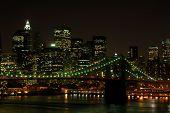 picture of new york skyline  - Brooklyn Bridge and Manhattan Skyline at Night New York - JPG