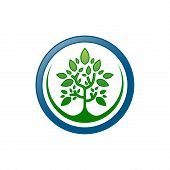 Green Tree Logo, Green Tree Leaves Vector Isolated On White Background, Tree Leave Logo Vector, Ecol poster