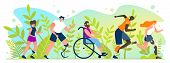 Marathon For People With Disabilities Cartoon Flat. Summer International Competitions For People Wit poster