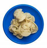 Dumplings On A Blue Plate Isolated On White Background .boiled Dumplings.meat Dumplings Top View .pe poster