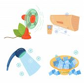 Cooling Things For Summer. Summer Chill Concept Illustration. Chill Air Conditioner, Fan, Shaved Ice poster