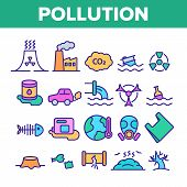 Pollution Of Environment Vector Thin Line Icons Set. Air, Water, Soil Pollution Problems Linear Pict poster