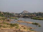 stock photo of vijayanagara  - Tungabhandra River and Hampi  - JPG