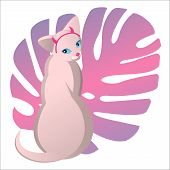 Bald Sphinx Cat In Cartoon Style Kawaii With Horns. Against The Background Of The Pink Leaf Of The M poster