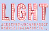 Pink Lighting Font. Alphabet Letters With Bulbs, Retro Numbers And Bright Bulb Lights In Letter. Clu poster