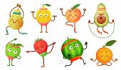 Fruit Characters Yoga. Fruits In Fitness Exercises Poses, Wellness Food And Funny Sport Fruit. Tropi poster