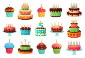 Cartoon Birthday Party Cakes. Sweet Baked Cake, Colourful Cupcakes And Celebration Cakes. Birthdays  poster