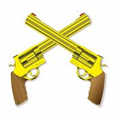 stock photo of crossed pistols  - Old fashioned golden hand guns crossed with background shadow - JPG